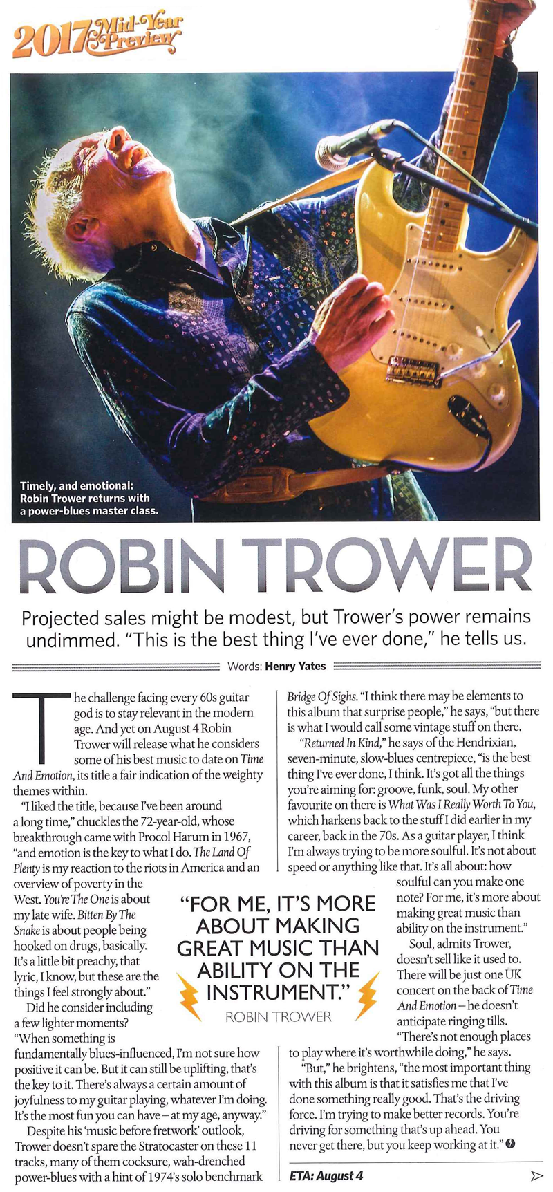 Robin trower Time and Emotion Classic Rock